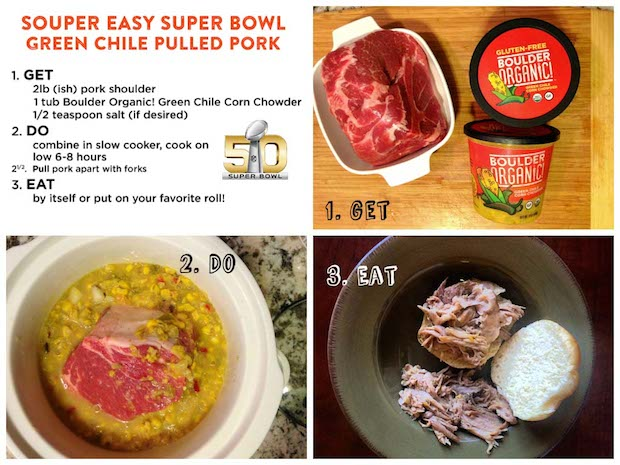 Green Chile Pulled Pork Recipe + Boulder Organic Soups Giveaway