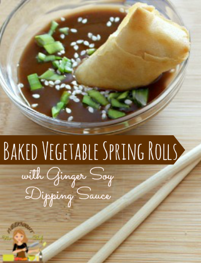 Baked Vegetable Spring Rolls with Ginger Soy Dipping Sauce