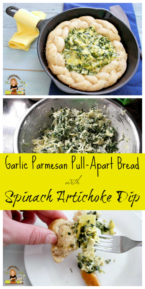 Garlic Parmesan Pull-Apart  Bread with Spinach Artichoke Dip Recipe