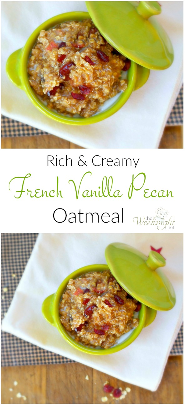 This Rich and Creamy French Vanilla Pecan Oatmeal recipe makes a delicious hot breakfast!