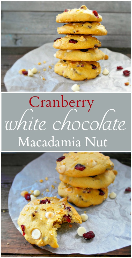 Cranberry White Chocolate Macadamia Nut Cookies. A light and fluffy cookie with a crunchy edge, plump cranberries and chocolate!