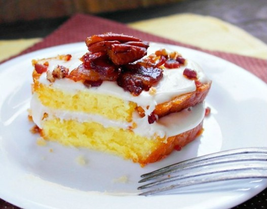Maple Glazed Pound Cake & Candied Bacon Pecans